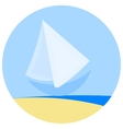 Icon of simple sailboat vector