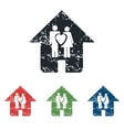 Family house grunge icon set vector