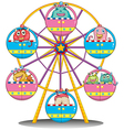 A ferris wheel with monsters vector