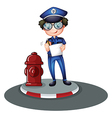 A police officer beside the hydrant vector