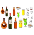 Beverage icons in cartoon style vector
