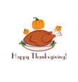 Happy thanksgiving with turkey and pumpkins vector