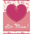 Pink heart textile label vector