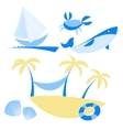 Set of icons with vocation and sea themes vector