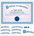 Blue certificate template horizontal vector