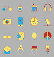 Teenage color icons on gray background vector