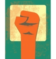 Red clenched fist retro poster vector