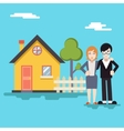 Retro happy family with house real estate modern vector