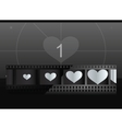 Film with heart in frames and screen on background vector