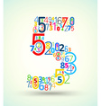 Number 5 colored font from numbers vector