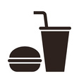 Fast food hamburger and drink icon vector