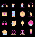Teenage colorful icons on black background vector