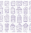 Seamless pattern outine houses vector