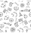 Seamless pattern racing element in a drawing style vector