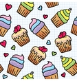 Cupcakes seamless pattern vector