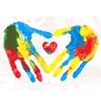 Heart in hands print vector