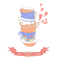 Tea party card with a stack of cute colorful cups vector