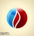 Logo symbol fire red and blue round glass icon vector