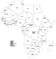 Outline map of the countries of africa vector