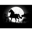 Horse silhouettes with giant moon background vector