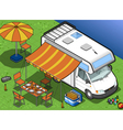 Isometric camper in two position vector