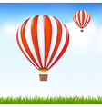 Hot air balloons floating in sky vector