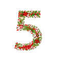 Christmas floral tree number 5 vector