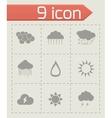 Black weather icons set vector