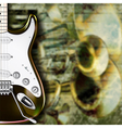 Abstract grunge background with guitar and musical vector