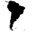 Silhouette map of south america vector