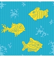Seamless marine pattern with fish vector