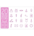 Thin line happy birthday icons set concept vector