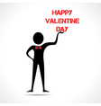 Man holding happy valentine day text vector