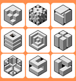 Cube icon set 4 vector