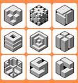 Cube icon set 4 vector