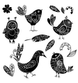 Black silhouettes bird and flower doodle set vector