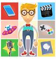 Type of nerd geek dork guy vector