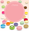 Macaroons background and sweet pink frame vector