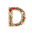 Christmas floral tree letter d vector