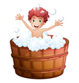 A young boy playing at the bathtub vector
