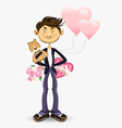 Valentine boy greeting card vector