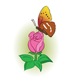 Rose with bright butterfly vector