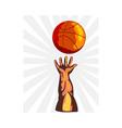Basketball hand retro vector
