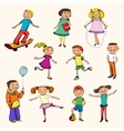 Children characters sketch colored vector