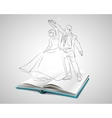 Open book with a blue cover about dancing vector