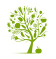 Healthy life - green tree with vegetables vector