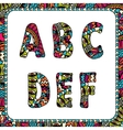 A b c d e f letters of alphabet with ethnic motifs vector