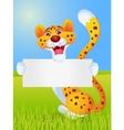 Cheetah cartoon with blank sign vector