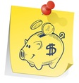 Doodle sticky note piggy bank vector
