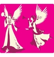 Beautiful angels silhouettes set vector